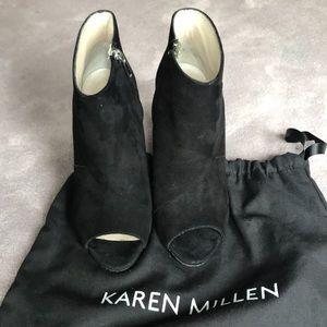 Karen Millen zip up open toe bootie 37 Black suede